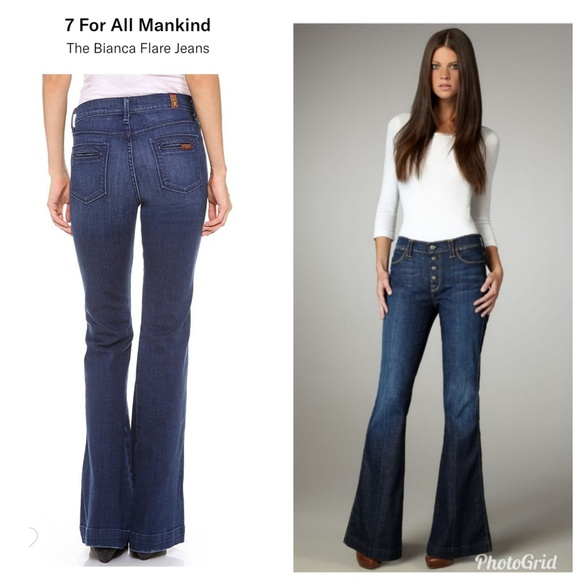 7 For All Mankind Denim - 7 For All Mankind Button Fly Bianca Flare Jeans